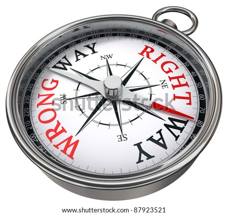 right versus wrong way indicated by concept compass on white background metaphor for logic versus feeling - stock photo
