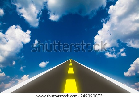 right way , road throw the sky, new road of life - stock photo