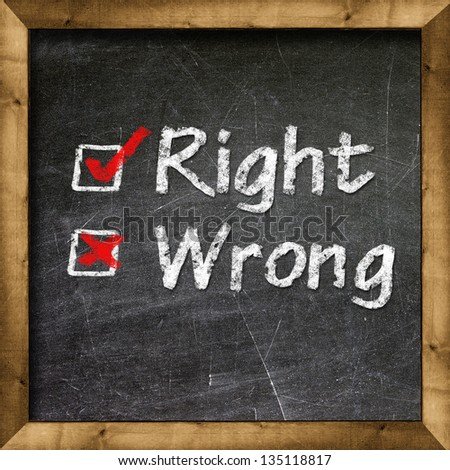 rigth and wrong choice - stock photo
