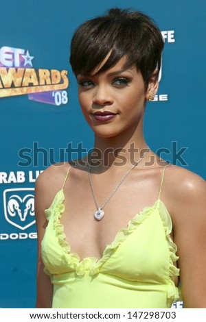 Rihanna  arriving  at the BET Awards at the Shrine Auditorium in Los Angeles, CA on June 24, 2008 - stock photo