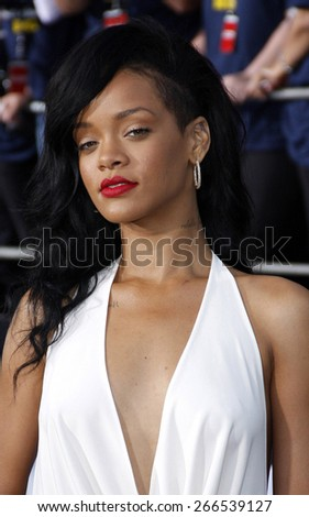 Rihanna at the Los Angeles premiere of 'Battleship' held at the Nokia Theatre L.A. Live in Los Angeles on May 10, 2012.  - stock photo