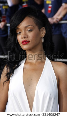 Rihanna at the Los Angeles premiere of 'Battleship' held at the Nokia Theatre L.A. Live in Los Angeles, USA on May 10, 2012. - stock photo