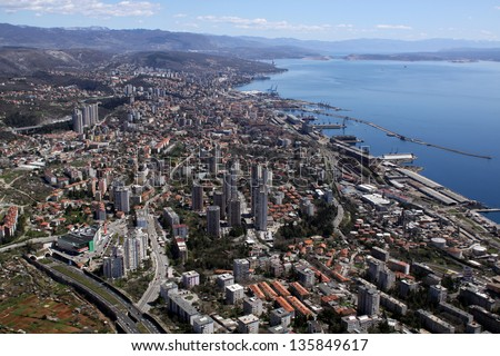Rijeka city, Croatia - aerial view - stock photo