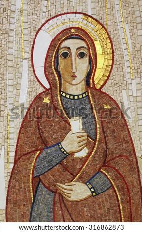 RIJEKA, CROATIA - MAY 06: Virgin Mary, mosaic, Chapel in monastery of the Sisters of Charity of St. Vincent de Paul in Rijeka, Croatia on May 06, 2013 - stock photo