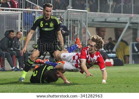 RIJEKA, CROATIA NOVEMBER 17: Group G qualifiers:  soccer match between Croatia and Spain (UNDER 21) on Nevember 17, 2015 in Rijeka - stock photo