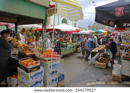 RIJEKA, CROATIA - OCTOBER 17: Farmers Market in Rijeka on OCTOBER 17, 2014. People at open market in Rijeka, Croatia. - stock photo