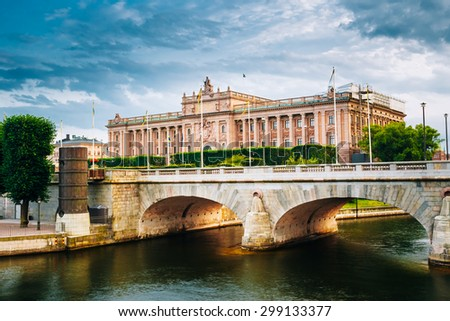 Riksdag Parliament Building and Norrbro Bridge In Stockholm, Sweden. - stock photo