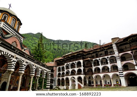 Rila Monastery.The largest Orthodox monastery in Bulgaria - stock photo