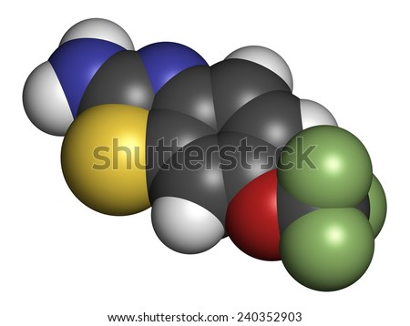 Riluzole amyotrophic lateral sclerosis (ALS) drug molecule. Atoms are represented as spheres with conventional color coding: hydrogen (white), carbon (grey), nitrogen (blue), etc - stock photo
