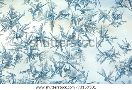 Rime frost on a window in winter - stock photo