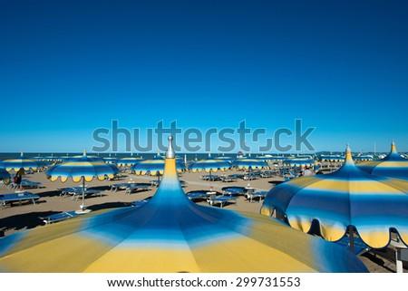 Rimini beach, Italy - stock photo
