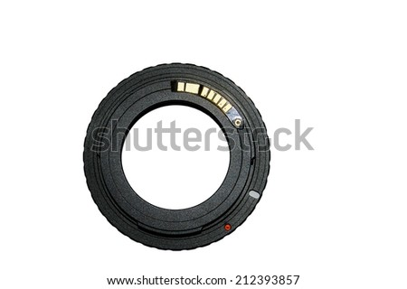 ring adapter for vintage lens with chip-focus, isolated on white - stock photo