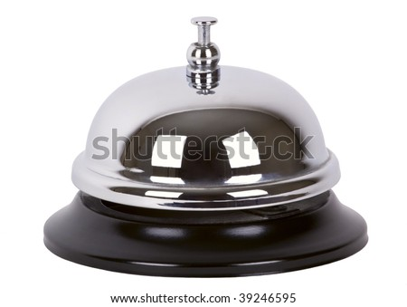 Ring alarm service silver metal chrome bell isolated on white. - stock photo