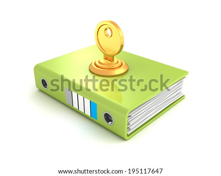 ring binder folder locked with key. 3d render illustration - stock photo