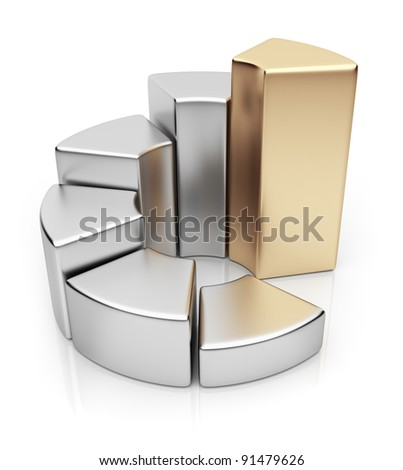 Ring chart. Business diagram 3D. Icon isolated on white background - stock photo
