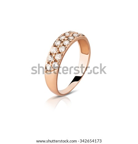 Ring. Gold ring with diamonds - stock photo