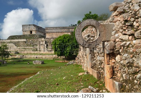 Ring Mayan ball game in the ancient city of Uxmal. Mexico - stock photo