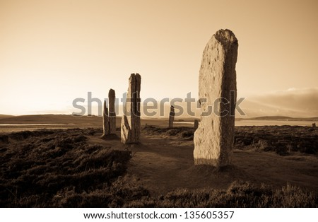 Ring Of Brodgar, Orkney, Scotland. A neolithic stone circle and henge which is part of The Heart of Neolithic Orkney World Heritage Site. - stock photo