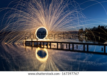 Ring of Fire at the lake - stock photo
