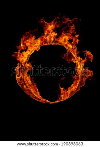 Ring of fire in black background  - stock photo