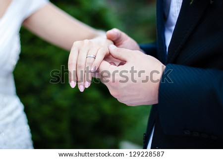 Ring on a hand - stock photo