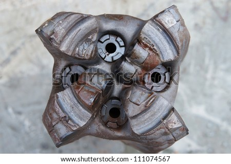 Ring Out PDC Drilling Bit (Damaged bit) Just Pulled Out of Hole - stock photo