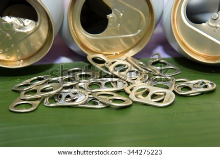 Ring pull aluminum of can. - stock photo
