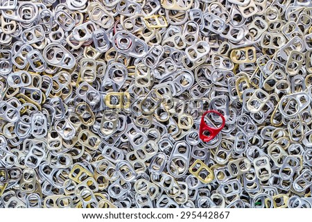 Ring pull cans, aluminum has a lot, background. - stock photo