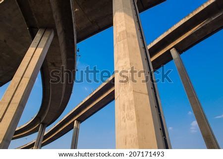 Ring Road  and Bhumibol Bridge on blue sky at bangkok,thailand. - stock photo