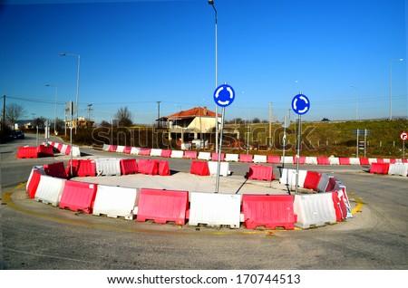 ring road sign - turn - car street - stock photo