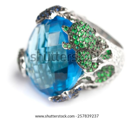 Ring with big blue stone - stock photo