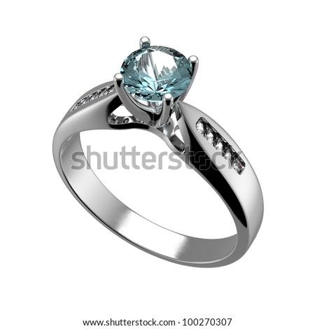 Ring with diamond isolated on white background. Swiss blue topaz. aquamarine. Grandidierite - stock photo