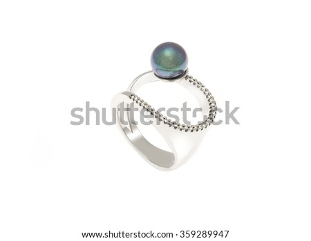 Ring with pearl isolation on white - stock photo