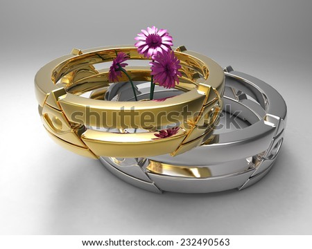 rings and flowers - stock photo