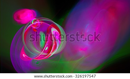 Rings of colored smoke. Bright air bubbles under water. Abstract image. Fractal Wallpaper on your desktop. Digital artwork for creative graphic design. Widescreen. Dark background. - stock photo