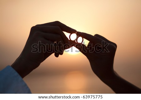 Rings on a decline - stock photo