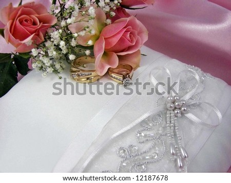 rings on pillow - stock photo