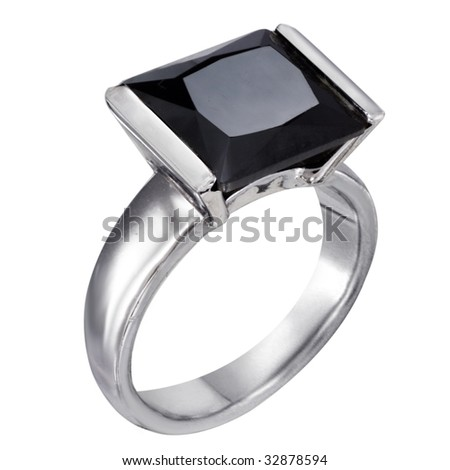 Rings with black onyx isolated on white background - stock photo