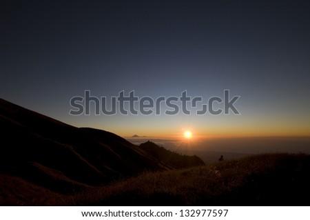 Rinjani National Park by sunset,Lombok - Indonesia - stock photo