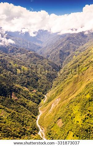 Rio Blanco Valley Aerial Shot Llanganates National Park Ecuador - stock photo