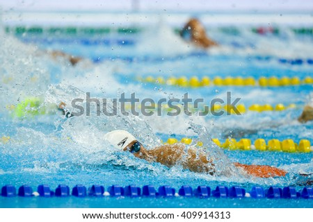 Rio, Brazil - April 14, 2016: ROCHA RIBEIRO FILHO Ercilio (BRA) - Men's 100m Freestyle - S9 - during the Aquece Rio - Swimming Open Championship Paralimpica Test Event at Olympic Aquatics Stadium - stock photo
