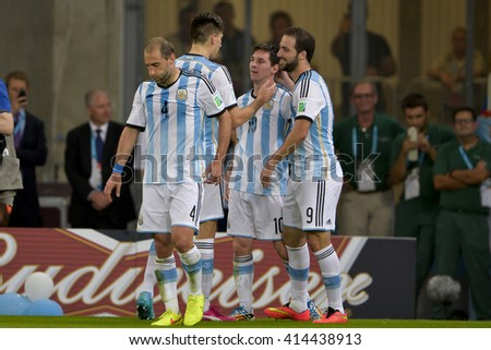 RIO, BRAZIL - June 15, 2014: Lionel MESSI of Argentina during the 2014 World Cup. Argentina is facing Bosnia in the Group F at Maracana Stadium - stock photo