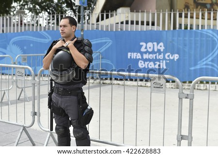 Rio, Brazil - June 22, 2014: Police in front of the venue during the FIFA 2014 World Cup. Belgium is facing Russia in the Group H at Maracana Stadium - stock photo