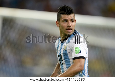 RIO, BRAZIL - June 15, 2014: Sergio AGUERO of Argentina during the 2014 World Cup. Argentina is facing Bosnia in the Group F at Maracana Stadium - stock photo