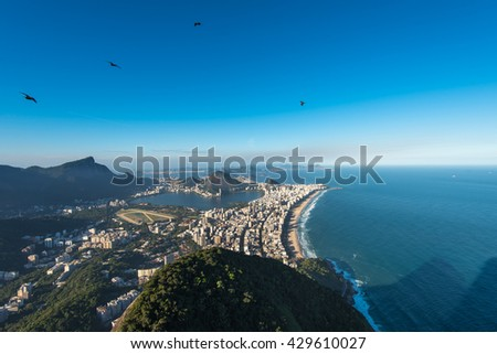 Rio de Janeiro Aerial View Overlooking Ipanema Beach, Rodrigo de Freitas Lagoon and Corcovado Mountain - stock photo