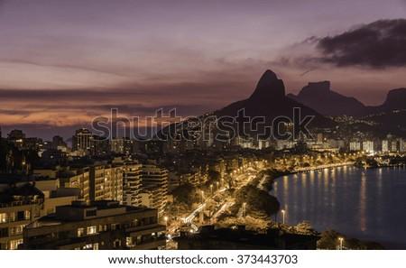 Rio De Janeiro at dusk, Brazil - stock photo