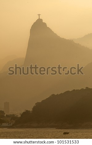 Rio de Janeiro at dusk with the view of Corcovado. - stock photo