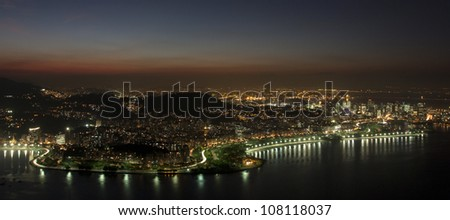 Rio de Janeiro at night, view from Sugarloaf mountain - stock photo