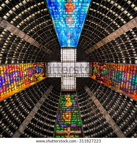 RIO DE JANEIRO - AUGUST 21, 2015: Ceiling inside the metropolitan cathedral. The church is dedicated to Saint Sebastian, the patron saint of Rio de Janeiro - stock photo