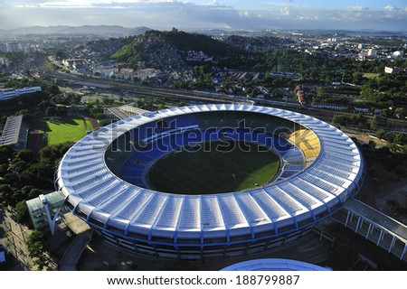 Rio de Janeiro, Brazil-April 11, 2010: Maracana Stadium, world famous stadium, originally built in 1950 for FIFA World Cup, will host 2014 World Cup and opening & closing ceremony of 2016 Rio Olympics - stock photo